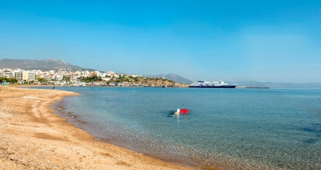 Beach next to the port of Rafina