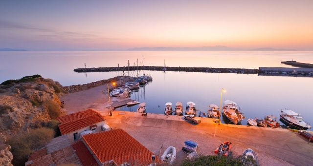 sunset, port of Rafina, ferry tickets from Rafina to Tinos,