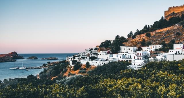 Dorf, Rhodos, weiße Häuser, Natur, Fährverbinding, Dodekanes