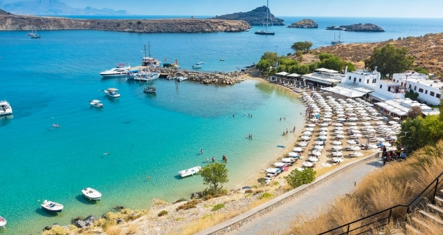 Lindos bay and beach in Rhodes