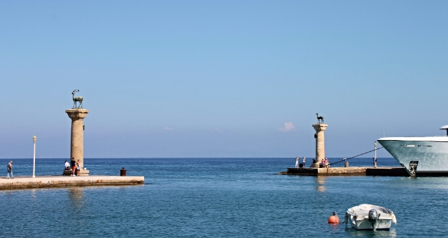 Rhodes, port, sea, statues, white boats, Dodecanese, ferry tickets