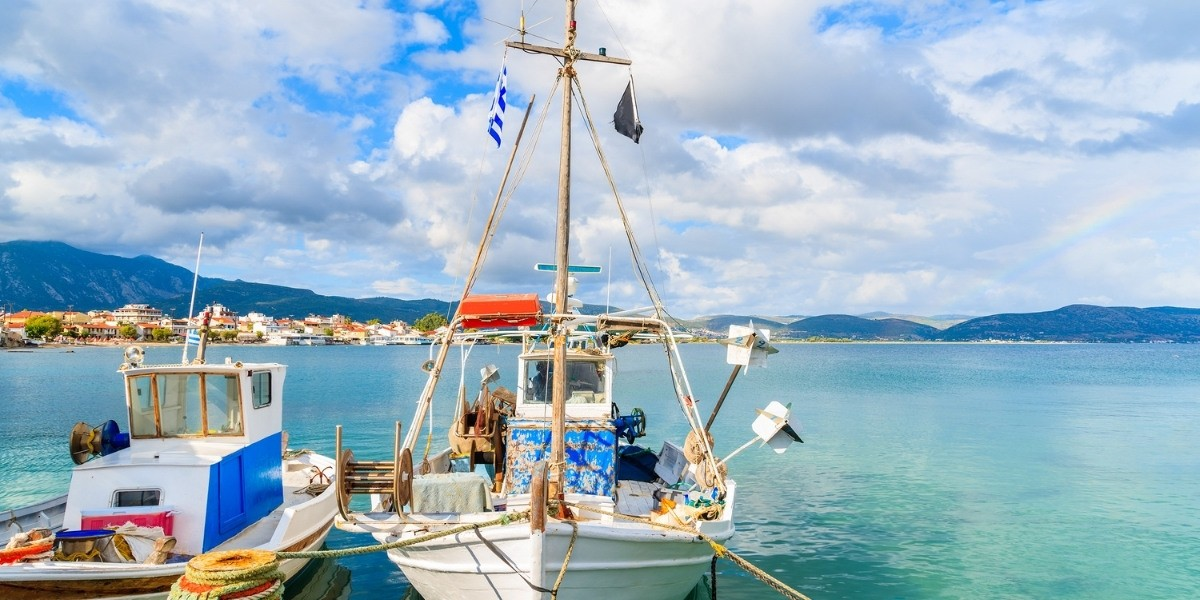 Fishing boat at a picturesque port in Samos