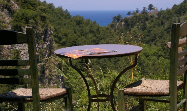 tables, wooden chairs, nature, green trees