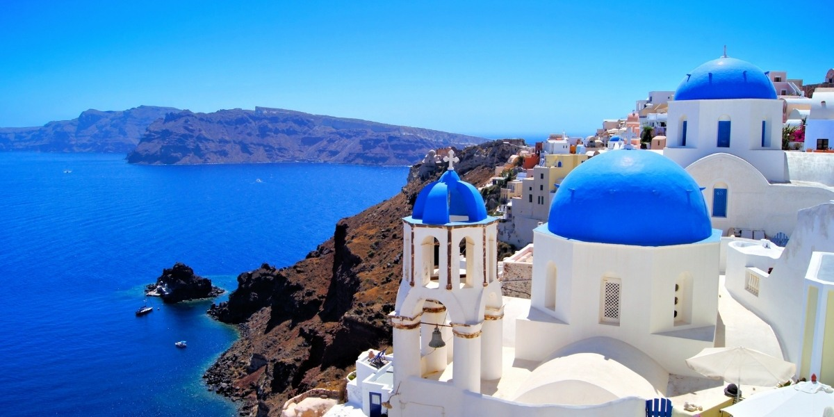Blue and white houses on the caldera of Santorini
