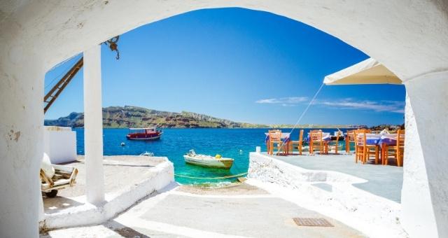 The harbor of Ammoudi in Santorini