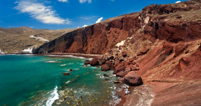 Red beach, Santorini, blue sky, clouds, volcanic island, green-blue sea