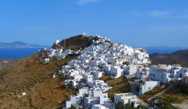 White houses in the village of Chora in Serifos