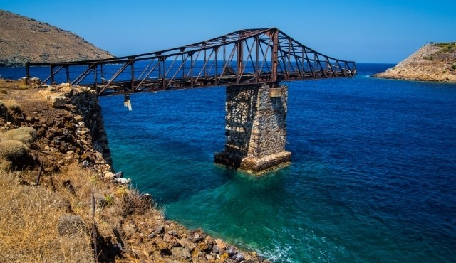 Derelict old bridge at an old mining site in Serifos