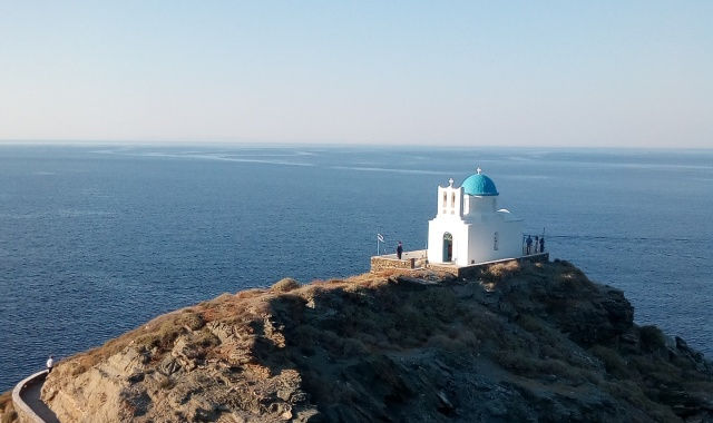 white church on top of the mountain, sea view, Sifnos, ferry tickets