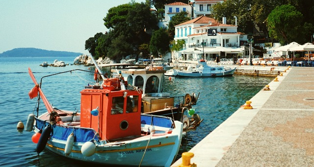 Fishing boats at a small harbor in Skiathos