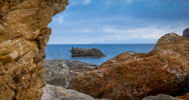 Βράχια, ακτή, θάλασσα, Σκόπελος, θέα, νησί, σύννεφα, ορίζοντας