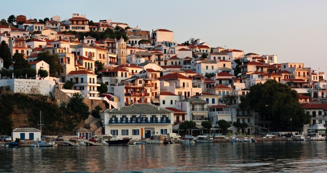 Port of Skopelos, houses, architecture, colours, fishing boats, ferry routes to Sporades and Volos