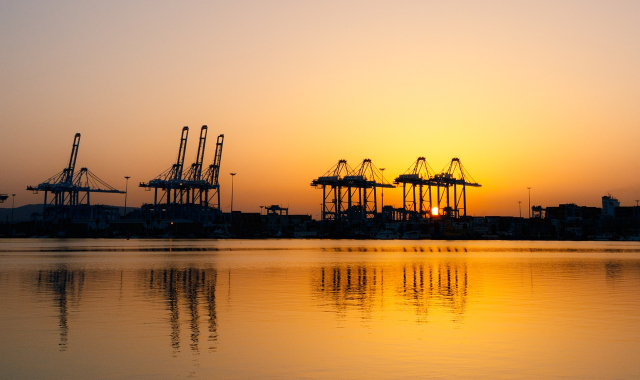 Cranes, sunset, yellow sky, port, Tangier, Algeciras, Ferry routes