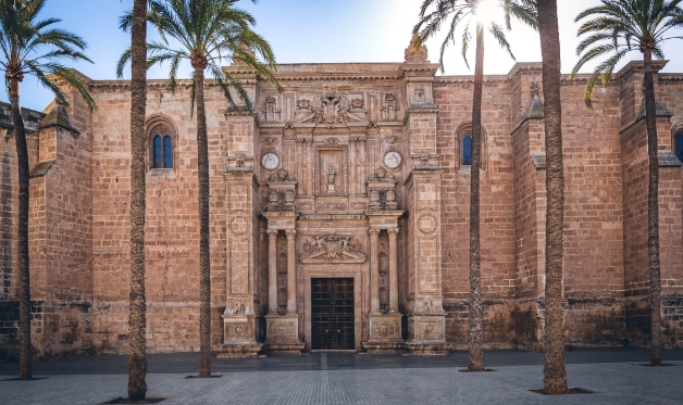 Cathedral and palm trees in the city of Almeria, Andalusia, holidays, ferry routes
