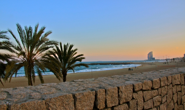 The beach of Barcelona in the afternoon - find cheap ferry tickets to the Balearic islands