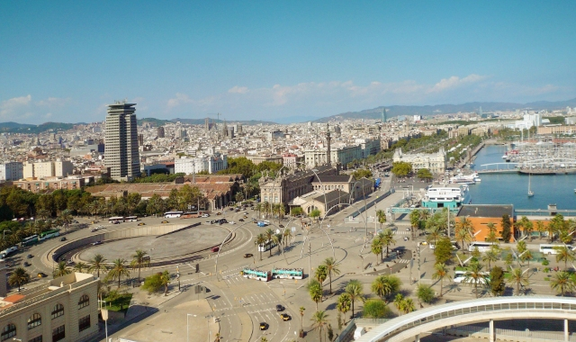 View of the port of Barcelona, bus stops and transport links. Find cheap ferry tickets from Barcelona