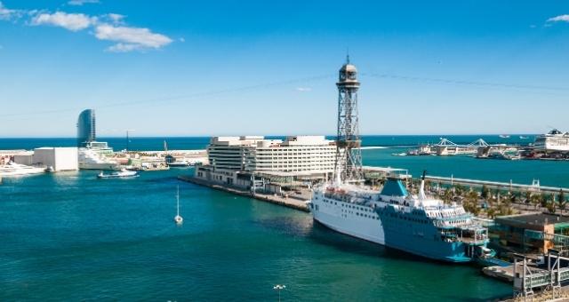 barcelona, port, ferry, sea, sky, mediterranean, spain