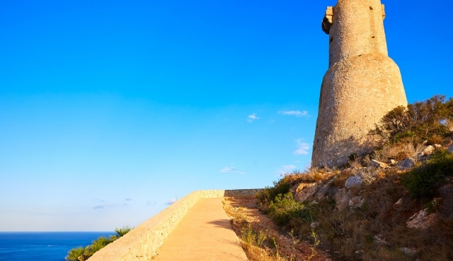 denia, tower, monument, sea, sky, blue, gerro