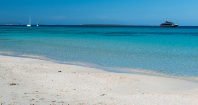 Playa Illetes, Formentera, white sand, yatch, sailing boats, blue crystal sea, blue sky, Balearic islands
