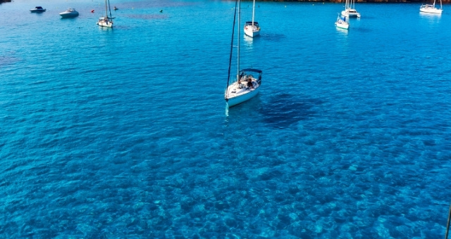 sailing boats, crystal blue sea, Cala Saona, Formentera