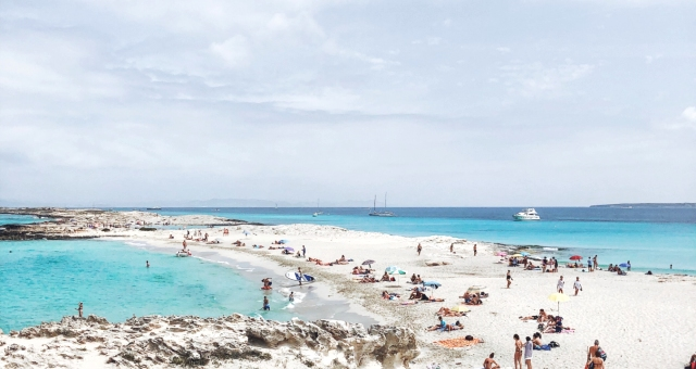 White sand beach in Formentera, Balearic Islands, holidays in Spain, ferry routes