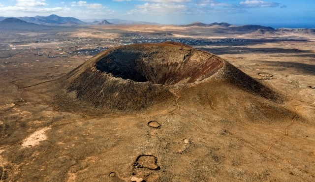 The Calderón Hondo volcano in Fuerteventura, Canary Islands