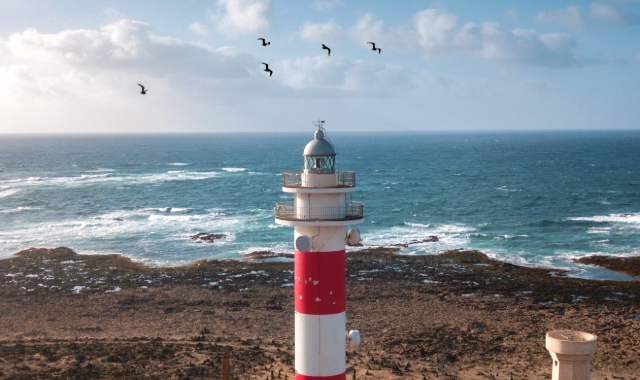 White and red lighthouse, beach, seagulls, Tenerife, Fuerteventura, Ferry trips