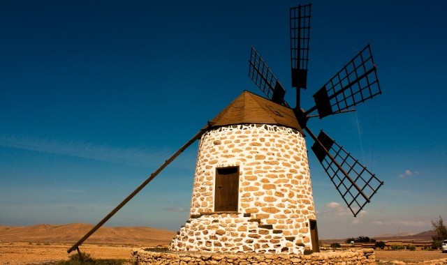 Windmill, night, stones, Fuerteventura, Canary Islands, Ferry routes