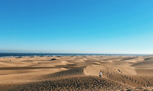 Sand dunes, beach and sea in Gran Canaria, holidays and outdoor activities in Canary islands, ferry routes