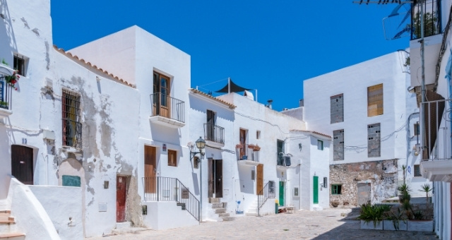 White houses in Ibiza's old town, Spain