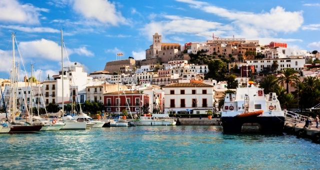 The old town and port of Ibiza, Spain