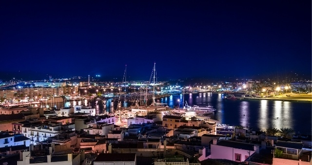 The town and port of Ibiza at night, Spain