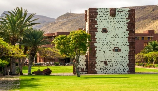 la gomera, fortification, stone wall, torre del conde, san sebastian, palm trees, garden, monument, tower