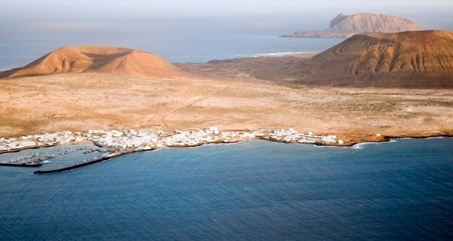 Panoramic view of La Graciosa island in the Canaries, Spain