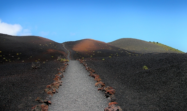 Hiking route, Volcanic trail, grey and red ash, Tenerife, La Palma, Ferry trip