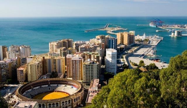 Il porto e dell'arena di Malaga