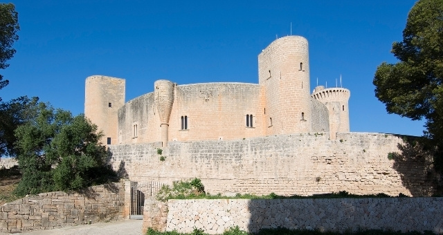 Bellver castle, Mallorca, Palma, circular castle, blue sky, trees, Medieval, sightseeing, history