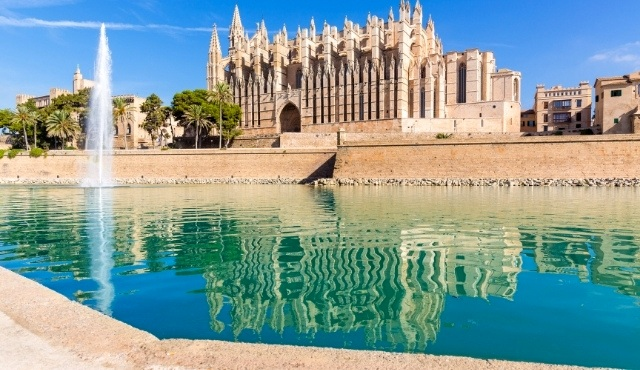 mallorca, majorca, balearic islands, fountain, cathedral, la seu, santa maria of palma, palm trees, monument