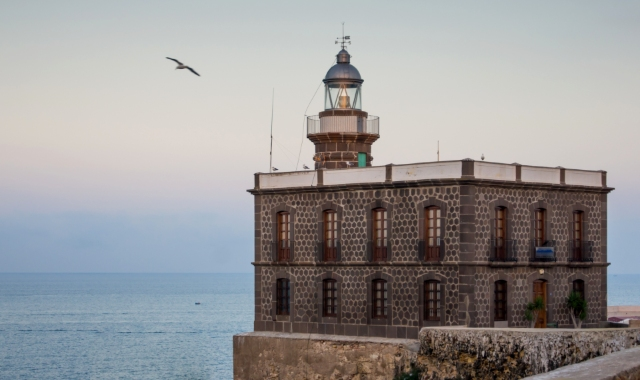 Lighthouse, Fortress, Sky, Birds, Sea, Melilla la Vieja, Spain, Ferry tickets