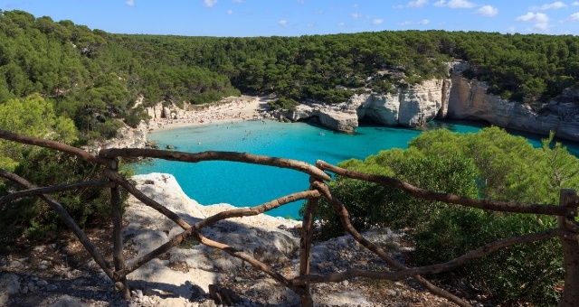 Beach Calas Mitjana, Blue crystal waters, Sand, Pine Trees, Menorca