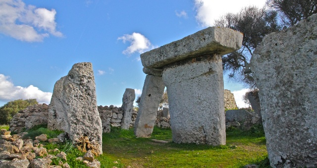 Talayotic settlement, ruins, archaeological site, blue sky, clouds, menorca sightseeing