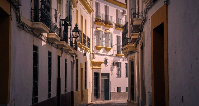 City, Buildings, Narrow street, Motril, Andalusia, Spain, Ferry routes