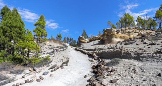 Hiking trail, mountains, Tenerife, trees, paisaje lunar, blue sky, rocks, outdoor activites