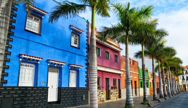 tenerife, colorful houses, palm trees, cute street, canary islands