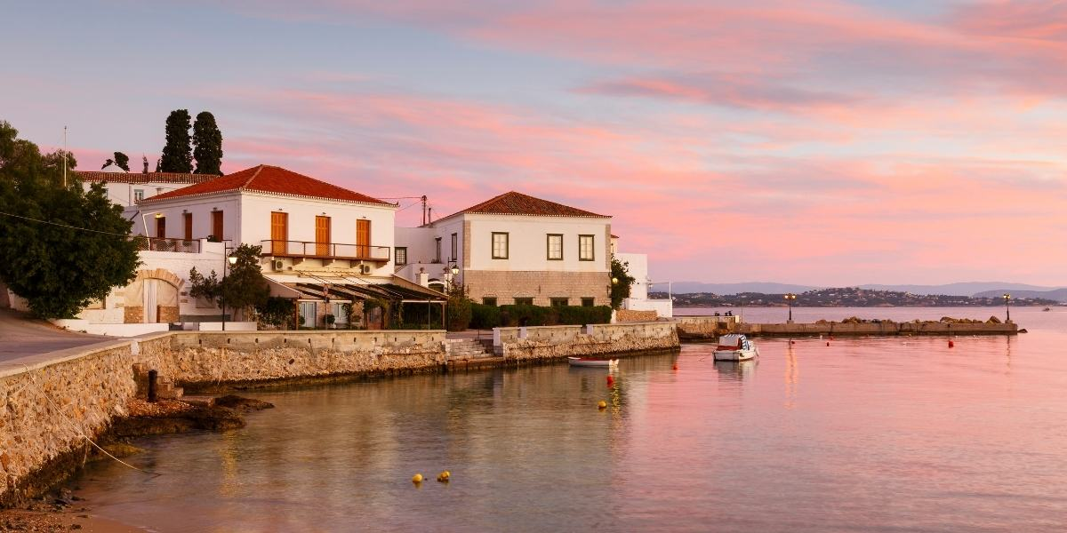 Sunset at the port of Spetses