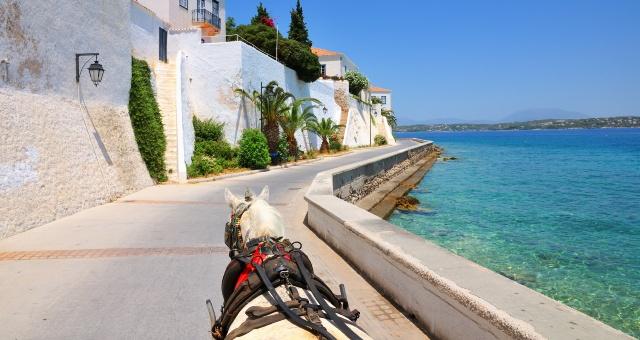 δρόμος, άλογο, άμαξα, κτήρια, φυτά, θάλασσα, γαλαζοπράσινα νερά