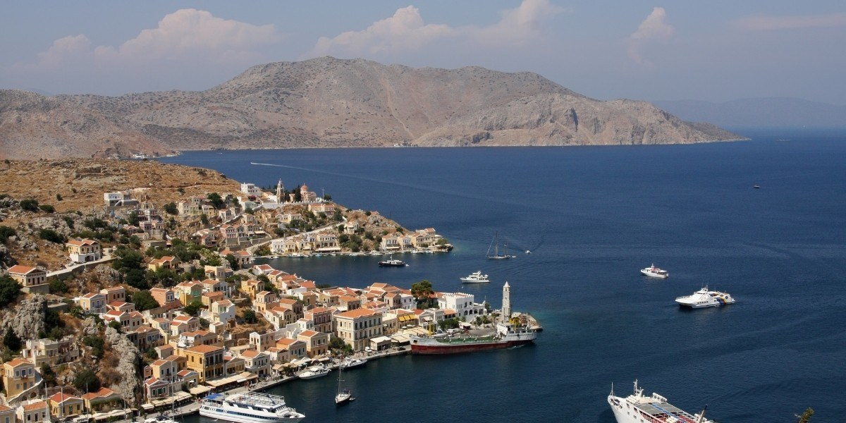 Ferries at the port of Symi