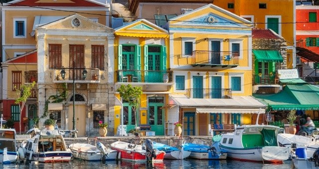 Colorful neoclassical buildings in Symi