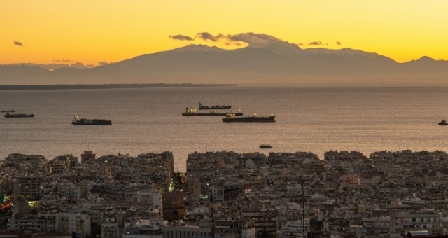 View of Mount Olympus from Thessaloniki at dusk