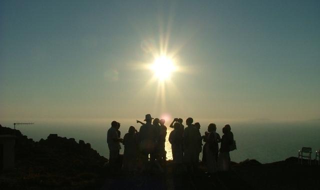Περιπατητές, θέα, Αιγαίο, θάλασσα, ορίζοντας, ηλιοβασίλεμα, καρέκλες
